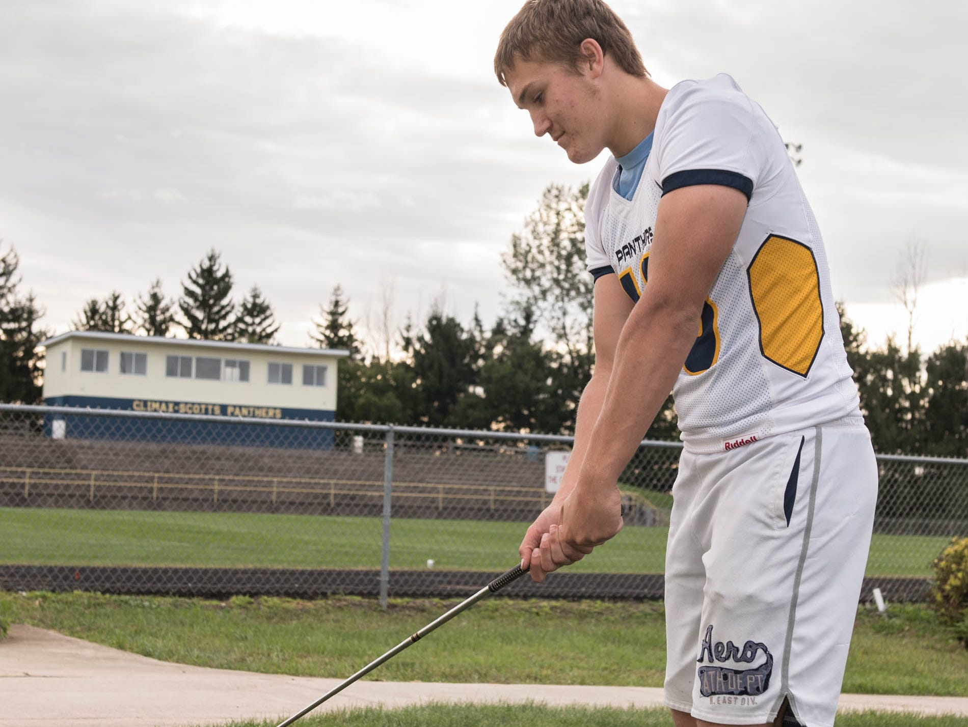 Zach Scholly of Climax-Scotts plays six different sports during the school year, including football, cross country, basketball, wrestling, track and golf.