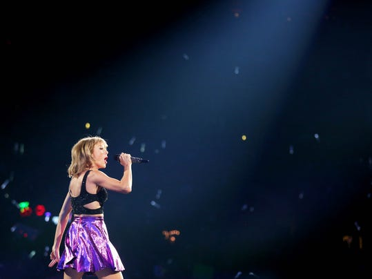 "Taylor Swift performs during the ""1989"" world tour at Staples Center on Saturday, Aug. 22, 2015 in Los Angeles."