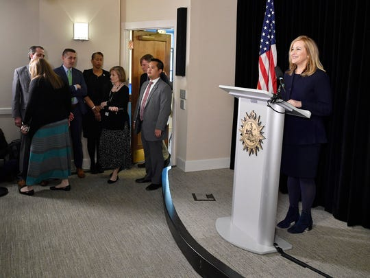 Mayor Megan Barry speaks at a news conference in the