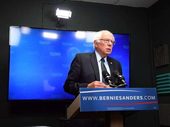 Sen. Bernie Sanders prepares to speak for a video to