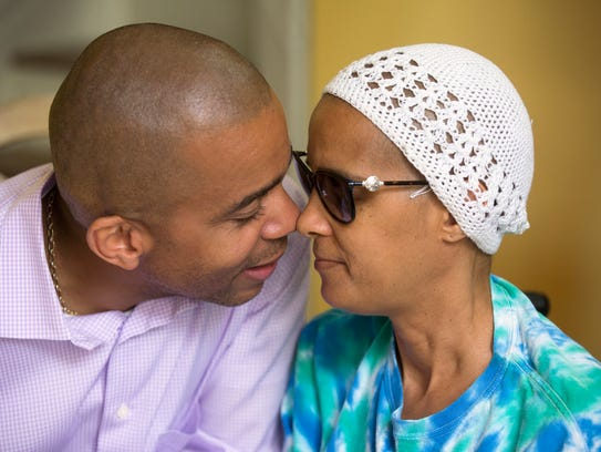 Christopher shares an intimate moment with Pamela. In January, Pamela started to not feel well, noticing she was losing function in her leg.