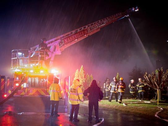 Nashville firefighters respond to a house fire on Mallard