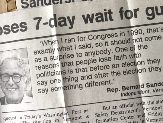 A Free Press clip from March, 1990, when Rep Bernie