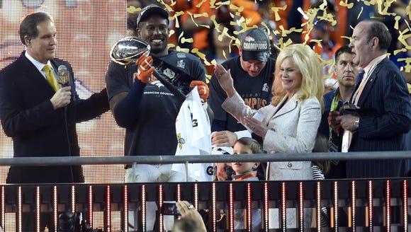Denver Broncos outside linebacker Von Miller (58) celebrates