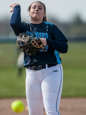Richmond's Erin Shuboy throws a pitch during the first of a doubleheader softball game Tuesday, April 18, 2017 at Cros-Lex High School.