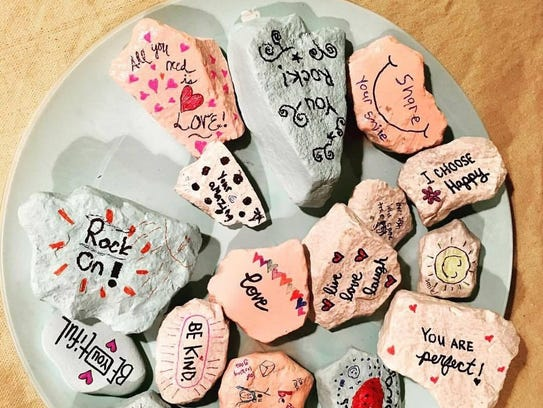 Kindness rocks, like these made by Brookfield Girl