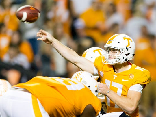 Tennessee quarterback Will McBride (17) throws a pass during an game between Tennessee and Southern Miss at Neyland Stadium in Knoxville, Tennessee, on Saturday, Nov. 4, 2017.
