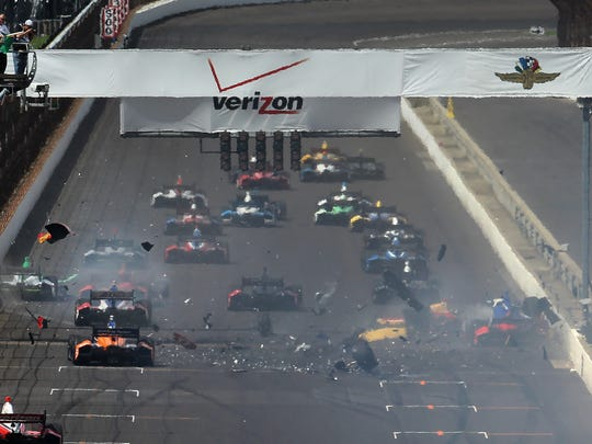 The start of the inaugural Indianapolis Grand Prix was marred by a crash at the Indianapolis Motor Speedway on Saturday, May 10, 2014.