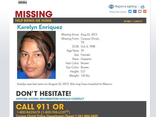 Karelyn Enriquez,19, was last seen in August 2013.