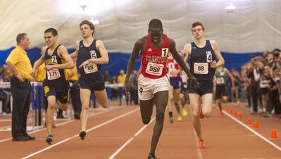 Trenton Central's Mulual Mu wins the 1600 with Franklin's Billy Hill (2) finishing second at the NJSIAA Boys State Indoor Track Championships on Feb. 25, 2017 at the Bennett Complex in Toms River.