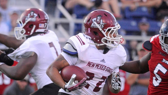 Xavier Hall (22) is expected to be New Mexico State's lead running back entering 2014.