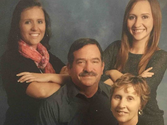 Dale Blakeslee with his daughters, Kelly, left, and Stacy, right, and his wife, Patty in this 2012 family photo.