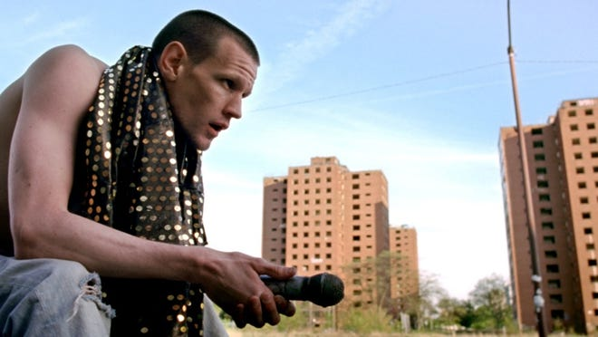 """Matt Smith as Bully in """"Lost River,"""" which was shot in Detroit in 2013. Demolition of the Brewster-Douglass projects, seen in the background, began in the latter part of that year."""