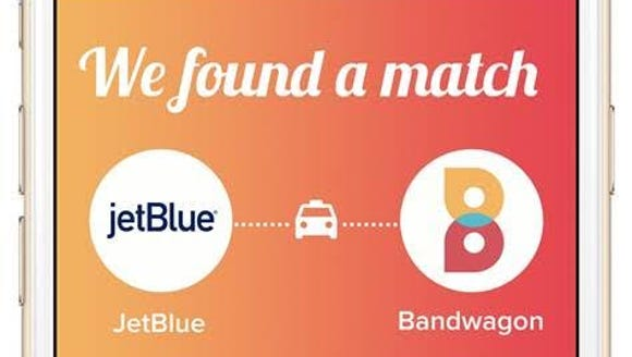 JetBlue is partnering with Bandwagon to offer taxisharing