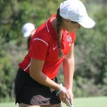 Haley Walter of Seton chips off the hole six tee box last season at Weatherwax in the GGCL tournament.