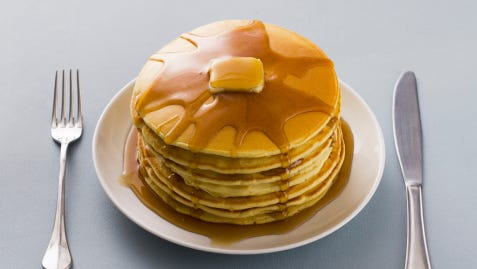 Stack of pancakes with butter and syrup on a plate