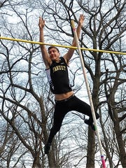 Nanuet's Chris Filatov clears an outdoor-best 13-6 to win the pole vault at the Pirate Relays