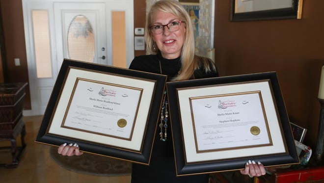 Sheila Bradford Kiner of Palm Desert holds the certificates indicating she is a direct descendent of William Bradford and of Stephen Hopkins, both of which came to America on the Mayflower.