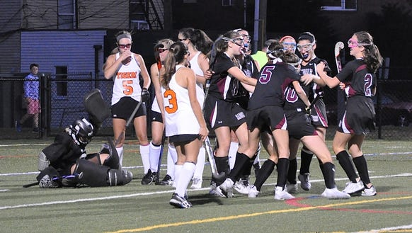Scarsdale celebrates Jilly Mehlman's tying goal. Photo