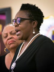 With tears running down her cheek, Terry Evans, mother of Malcolm Evans, speaks at a 2016 press conference held by the New Castle County Division of Police to ask for the public's help in searching for a suspect from a July 9, 2016 homicide of 19-year-old victim Malcolm Evans in the community of Rutledge.