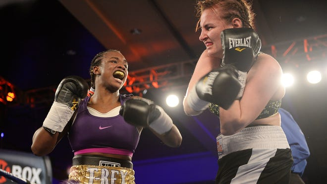 Claressa Shields, left, is 5-0 with two knockouts in her young pro career.