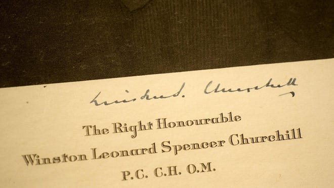 A menu signed by  Winston S. Churchill that was presented to his children's nanny is on display at Raptis Rare Books. The store is holding an exhibition of Winston S. Churchill to celebrate the 80th anniversary of his appointment as the prime minister of England at the onset of World War II.