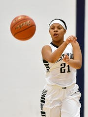 West York's Alayna Harris passes the ball against Eastern York in the first half of a YAIAA girls' basketball game Friday, Jan. 6, 2017, at West York. Eastern York defeated West York 55-49.