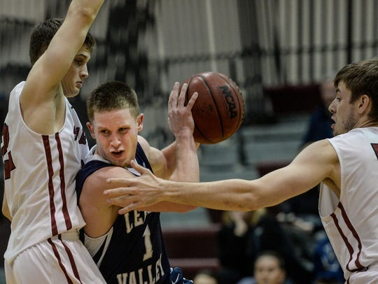Lebanon Valley College's Sam Light drives to the hoop
