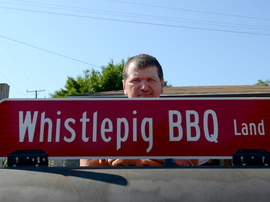 Jason Strotheide, an executive chef at Michigan State University, opened The Whistlepig BBQ in an old gas station on North Cochran Avenue in Charlotte.