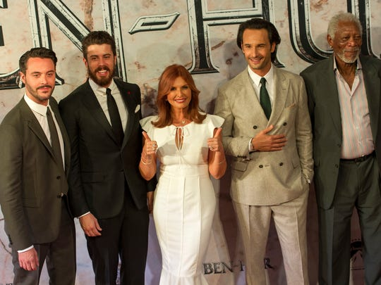 """From left, acrtors Jack Huston, Toby Kebbell, producer Roma Downey, Rodrigo Santoro and Morgan Freeman pose for the press during the world premiere of """"Ben-Hur"""" at the Teatro Metropolitan in Mexico City, Tuesday, Aug. 9, 2016."""