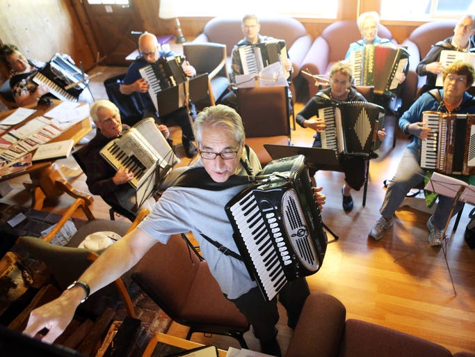 Ron Borrelli of San Mateo, Calif., leads a blues scale workshop. Accordion enthusiasts from across the country gather at Silver Falls State Park for the Rose City Accordion Club's annual camp.
