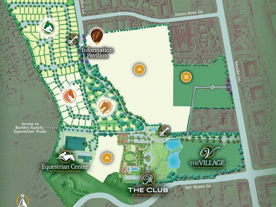 A site map of the Rancharrah development.