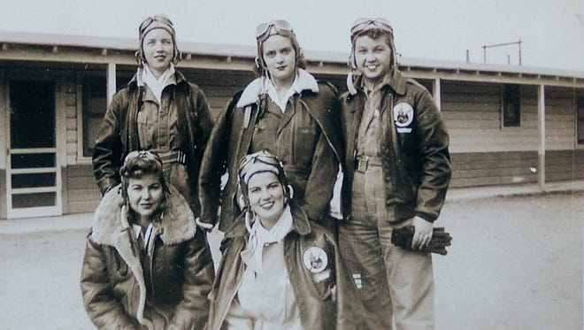 Cadets from the Class 44-W-4, from top left, Dorothy Allen, Mildred (Jane) Baessler, and Odean Bishop, from bottom left, Ina Barley and Stella Jo Baker at Avenger Field in Sweetwater, Texas.