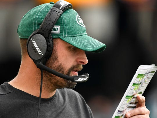 Oct 27, 2019; Jacksonville, FL, USA; New York Jets head coach Adam Gase (green hat) looks on during the second quarter against the Jacksonville Jaguars at TIAA Bank Field. Mandatory Credit: Douglas DeFelice-USA TODAY Sports