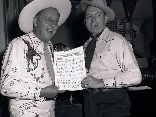 """Ray Ryan and Jimmy Van Heusen with music for """"It's 1,000 Miles From Palm Springs to Texas"""" (Photo by Paul Pospesil)"""