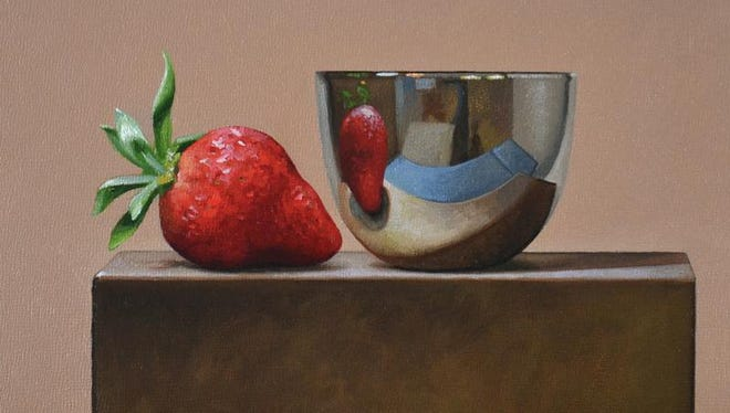 "Trish Coonrod's ""Strawberry and Reflective Bowl"" is among the ""Little Gems"" featured at a new West End Gallery exhibit."