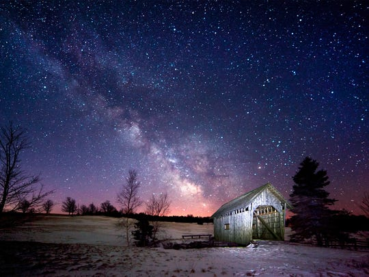 Foster Covered Bridge in Cabot under the Milky Way
