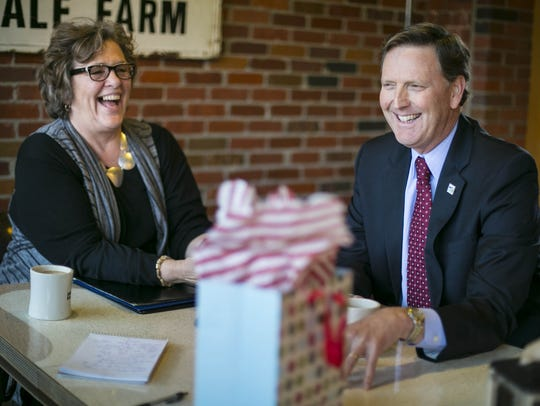 In this Register file photo, Iowa Family Leader head Bob Vander Plaats, right, has coffee with activist and One Iowa head Donna Red Wing at Smokey Row in Des Moines. Red Wing died in 2018.