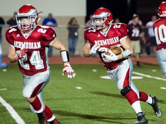 Bermudian Springs is looking to win its fourth Division III title since 2011. Here, Ryan Curfman runs the ball against Shippensburg on September 15. The Eagles fell to the Greyhounds 33-20.