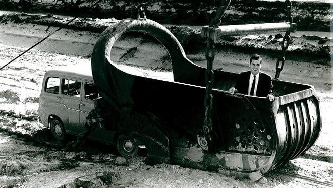 Kenny Schwartz, pictured at a canal construction site, was the vice-president and general manager of Cape Coral in 1957.