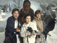 Left to right: Harrison Ford, Carrie Fisher and Mark