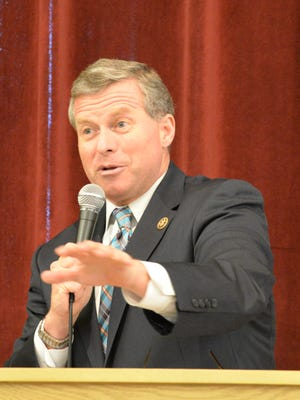 Pennsylvania Representative Charlie Dent addresses veterans during a Veterans Informational Program held at Palmyra First United Methodist Church on Saturday, May 21, 2016.