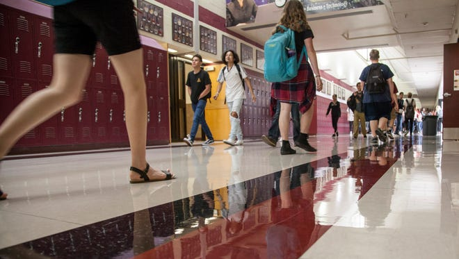 Students at Pine View High School walk the halls in this file photo from August of 2017.