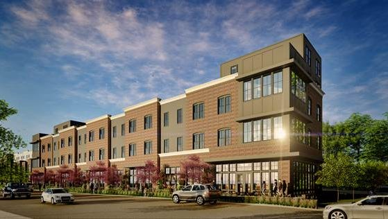 A rendering of the building with 40,000 square feet of apartment and retail space that Greenline Partners plans at East Trinity Lane and Gallatin Pike. The first floor is dedicated to office/restaurant and retail space.