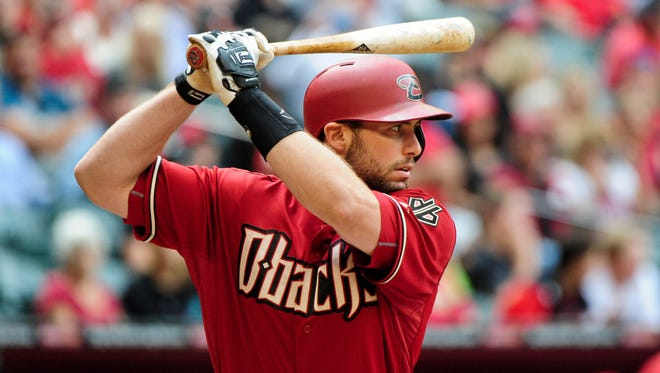Apr 26, 2015: Arizona Diamondbacks first baseman Paul Goldschmidt (44) at bat in the first inning against the Pittsburgh Pirates at Chase Field.