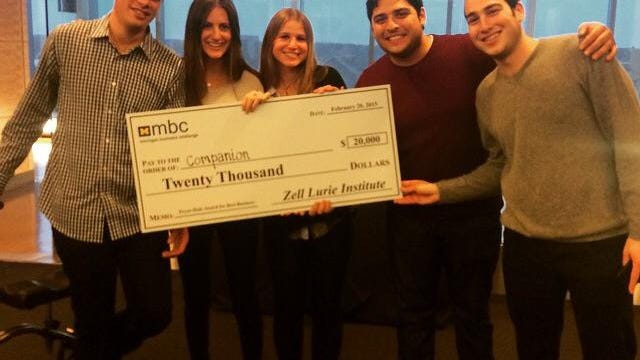 The Companion team, from left to right, Danny Freed, Lexie Ernst, Katie Reiner, Jake Wayne, and Nathan Pilcowitz, after winning the Michigan Business Challenge in February 2015 (Photo courtesy of Lexie Ernst).