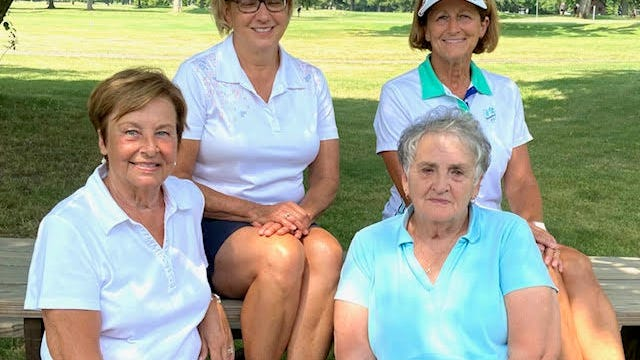 The Tannenhauf Women's Golf Association had four Guest Day Scramble winners, all tied for the top score with a 34. Front row, from left, Janie Knapp and Mary Kay Huth. Back row, from left, Kathy Hanlin and Peggy Engelhart.