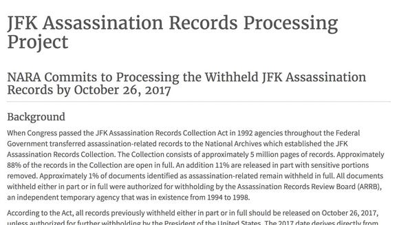 The Archives site for the JFK documents as of 3:30