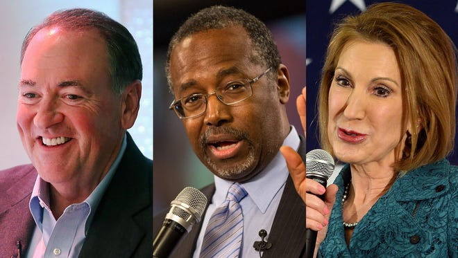 Republicans Mike Huckabee, Ben Carson and Carly Fiorina are expected to formally declare their presidential bids this week.