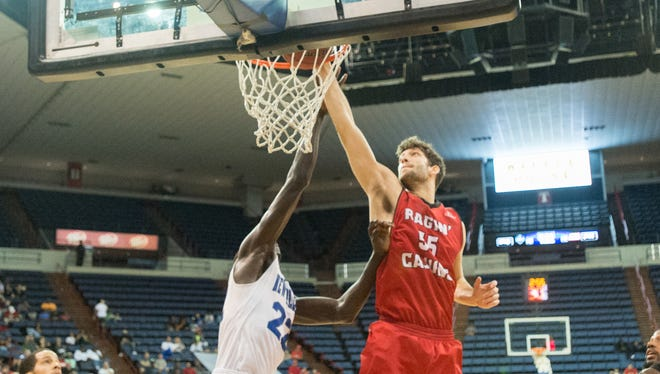 Scott Plaisance, shown here dunking during a December road win against the University at New Orleans, has left the UL basketball team and now plans to play for UNO.
